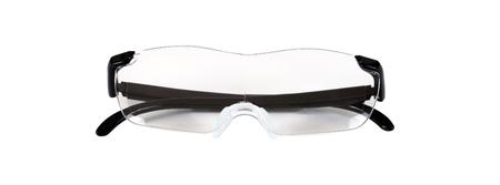 Magnifier eye glasses on isolate white background. Stock Photo