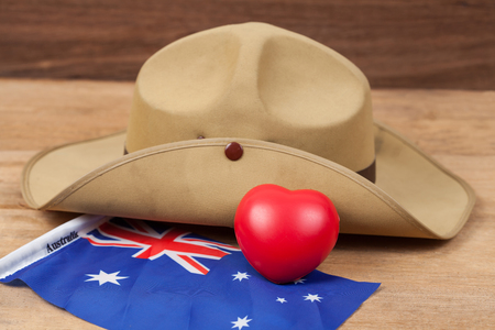Anzac army slouch hat with Australian Flag on vintage Stock Photo