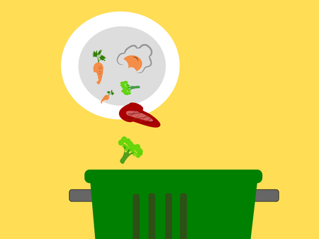 wast food in to bin ,illustration vector.