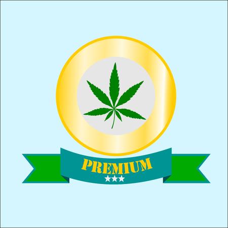 Golden medal and green marijuana, illustration vector. Illustration