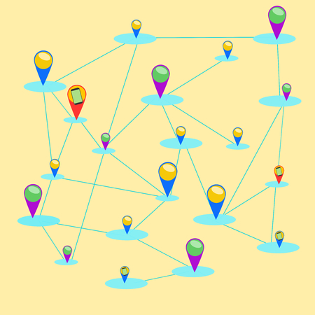 check in on network .Illustration vector
