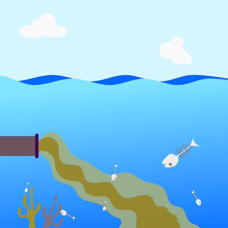 sea waste from industry .Illustration vector.