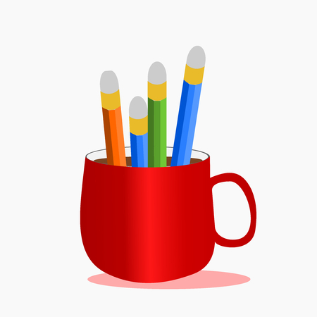 Bunch of pencils in a red cup of coffee,illustration vector. Vettoriali