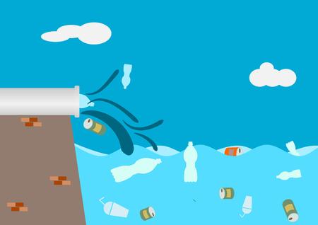 waste in the sea or ocean .Illustration vector.
