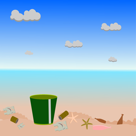 wast out of bin on sea beach illustration vector .
