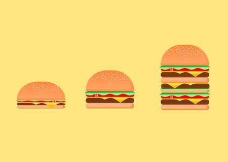 Hamburguesa de tamaño pequeño a grande Easy Food, ilustración.