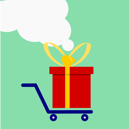 Red gift box on trolley ,vector illustrator.