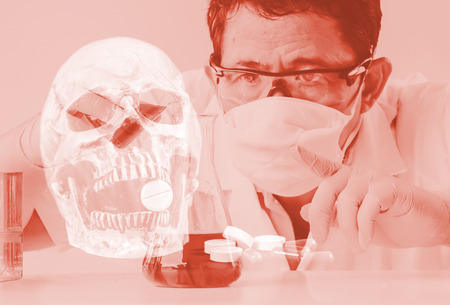 Double exposure skull and Laboratory glassware or test tube . science concept.