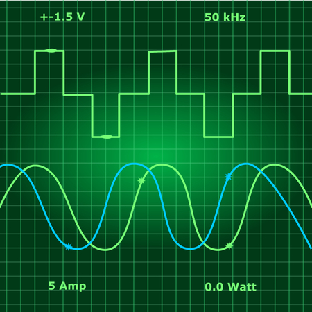 Pure sine wave show on green monitor. Stock Vector - 116333888