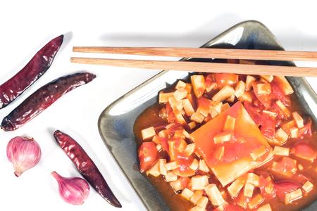Tofu with Tomato Sauce on table.Vietnamese Food.