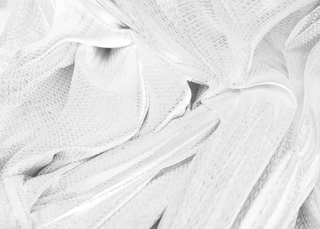 Textile industry and fabric backgrounds. satin fabric ,silky and smooth fabric as black and white background. Stock Photo
