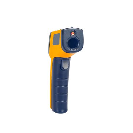 Yellow Infrared thermometer gun used to measure temperature on white background. Reklamní fotografie