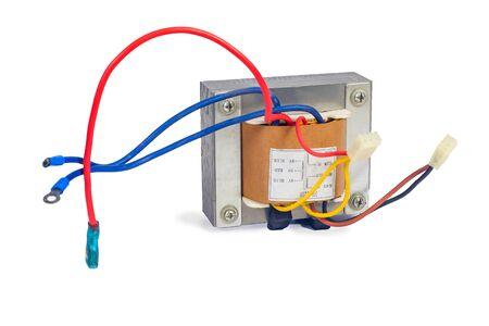 Power transformers for supplying electronic on white background. Standard-Bild