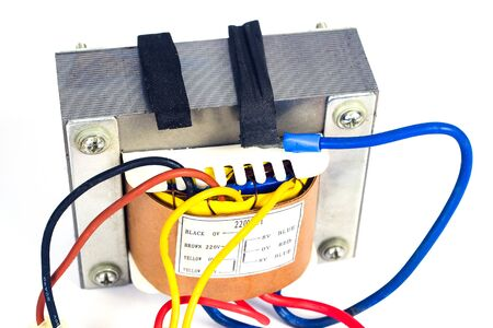 Power transformers for supplying electronic on white background.