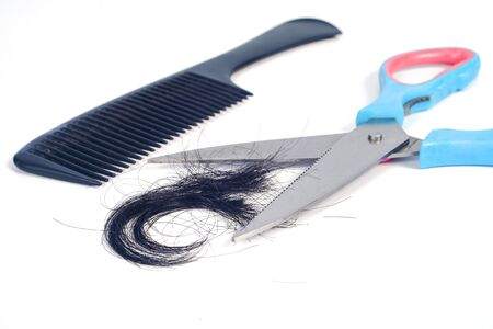 Scissors and hair cut on white background.
