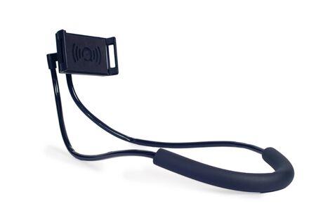 Smart phone holder use the neck on white background. Stock Photo