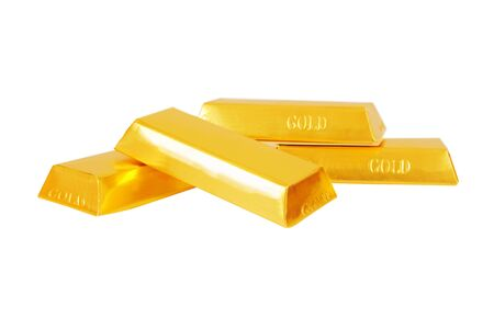 Heap of gold bars isolated on a white background Banking concept. Stock Photo