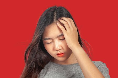 woman suffers from head ache, health concept.