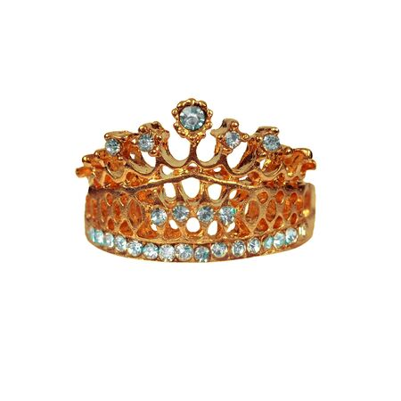 Gold and jewel Kings crown on isolated white background.