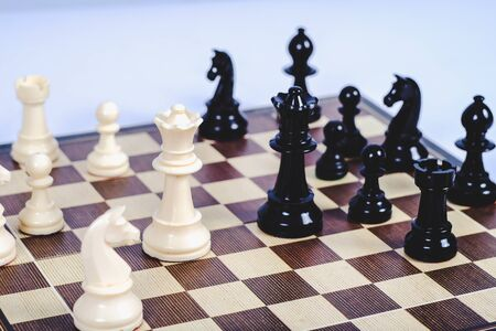 chess figure on board game concept for competition and strategy. Banco de Imagens