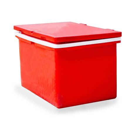 Big red ice bucket or cooler on white background. Stockfoto