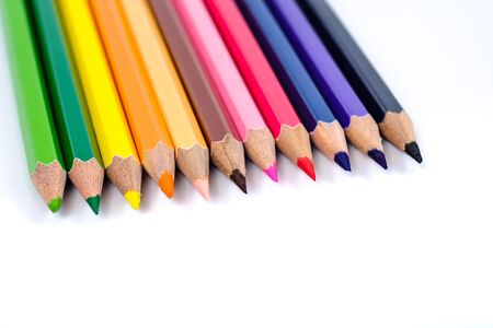 Multicolor pencil on background ,art tool concept and copy space. Zdjęcie Seryjne