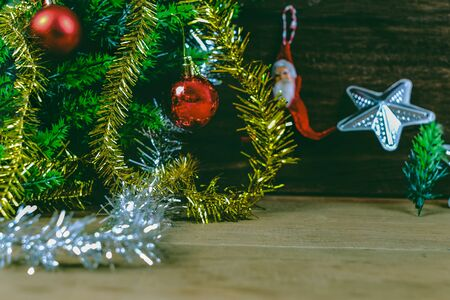 Silver star for christmas decoration on rustic wooden table,Christmas background.
