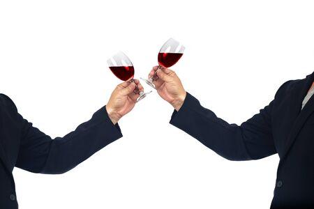 Soft beverages in businessman hands for celebration time
