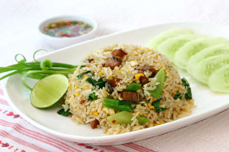 fiber food: fried rice with pork Stock Photo