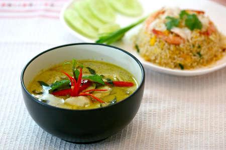 curry dish: green curry , thai cuisine