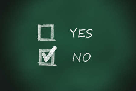 chalkboard where you can vote yes or no  Stock Photo