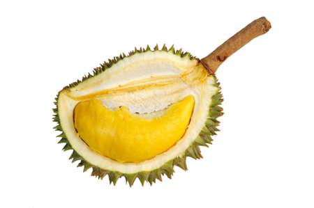 Gros plan de durian Pel�e isol�e sur fond blanc.
