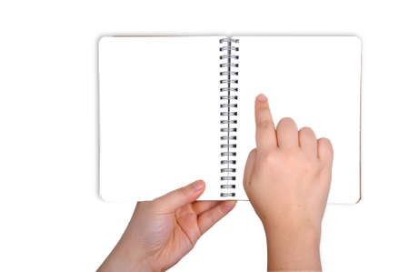 abstract academic: woman Hand holding opened book at blank page