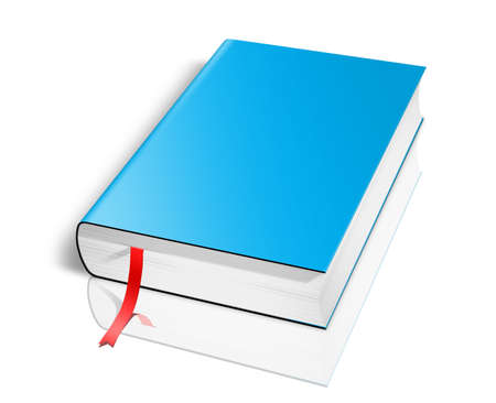mag: Blank book with blue cover on white background