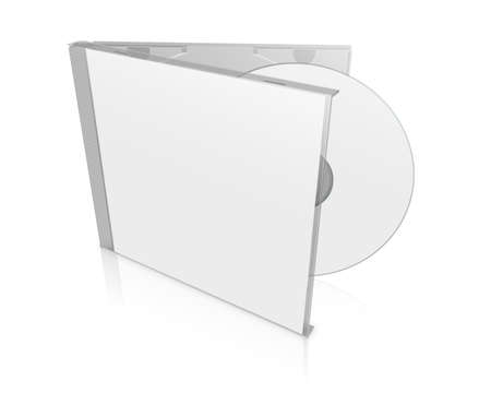 dvd case: Box for DVD with a disk on white background