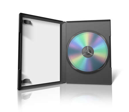Box for DVD with a disk on white background