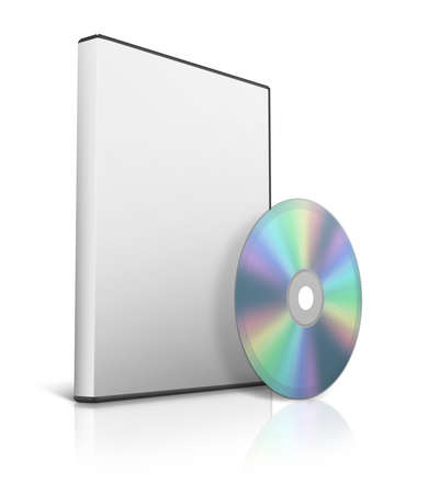 rewritable: Box for DVD with a disk on white background