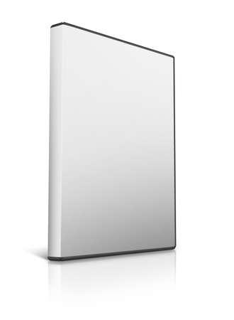 Box voor DVD met een schijf op witte achtergrond Stockfoto