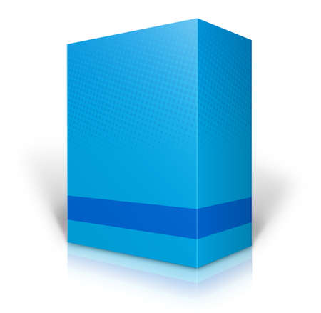 Blank blue box on white background photo