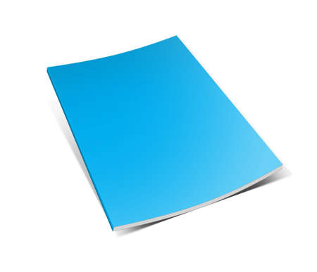 Blank book with blue cover on white background  photo