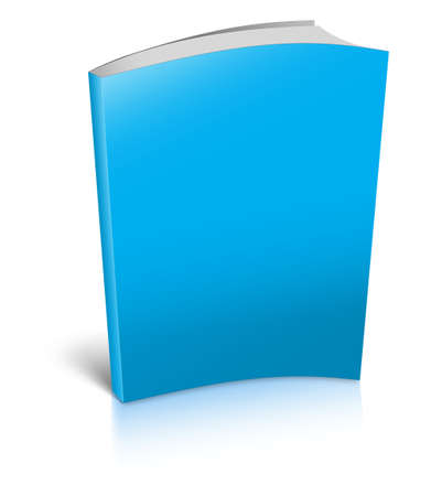 Blank book with blue cover on white background