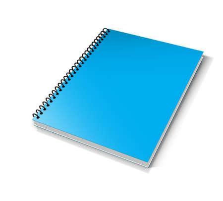 Livre blanc avec couverture bleue sur fond blanc