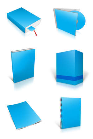 Blank book , DVD, Box on white background photo