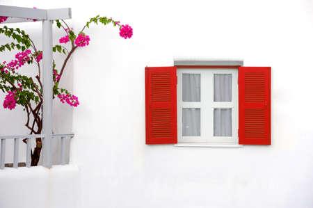 transylvania: Decorative vintage window with colorful flowers  Stock Photo