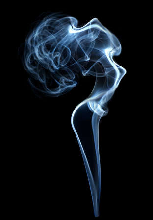 cigar smoke: Abstract smoke beautiful shape woman isolated on black
