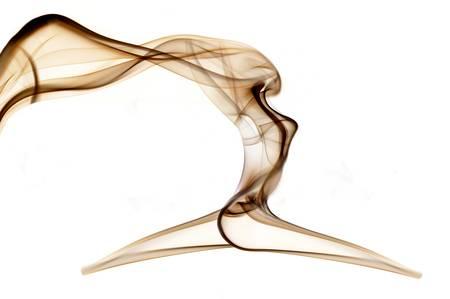 Abstract smoke beautiful shape woman isolated on black