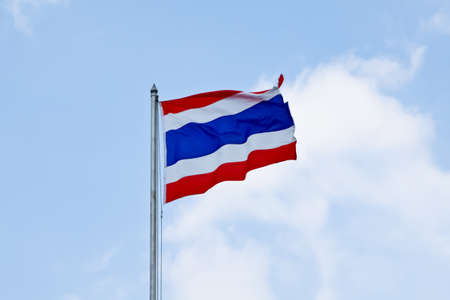 ethnical: Flag of Thailand waving with blue sky Stock Photo