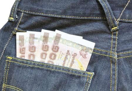 corruptible: 1000 baht bill in jean pocket,Thailand money Stock Photo