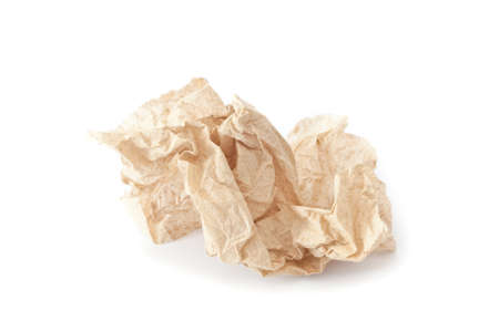crumpled tissue: crumpled tissue paper texture on a white background Stock Photo