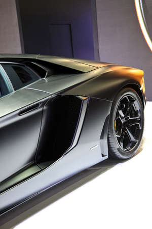 super car: Black Lumborghini super car showing on exhibit space agency in Bangkok Thailand on 02 April 2015